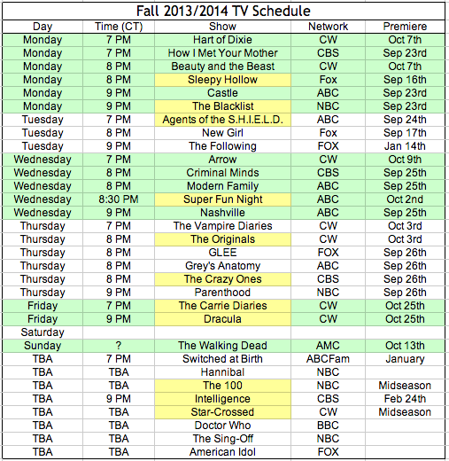Yellow indicates a new series I plan to check out